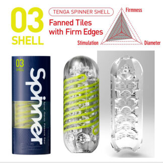 The 03 SHELL SPINNER by TENGA has fanned tiles with firm edges.